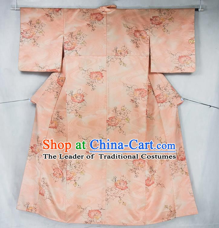 Asian Japanese Traditional Costumes Japan Furisode Kimono Yukata Printing Pink Dress Clothing for Women