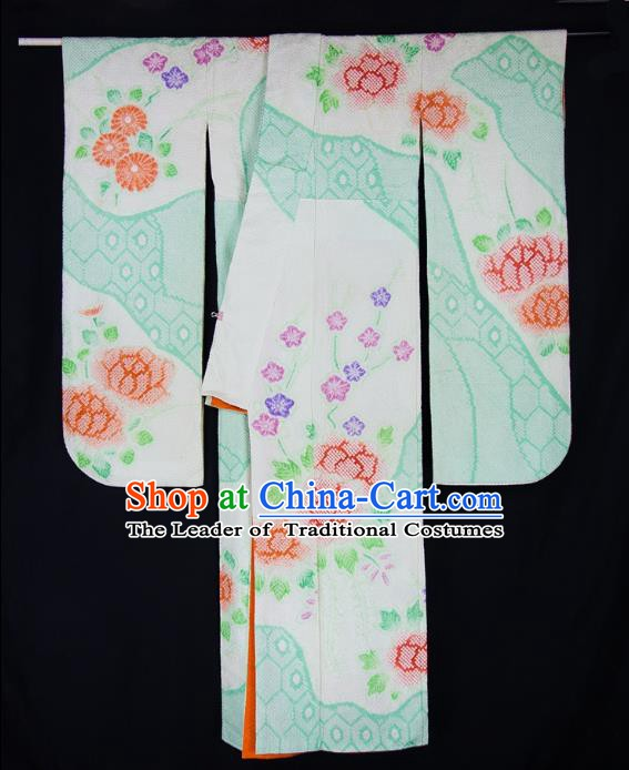 Asian Japanese Traditional Costumes Japan Furisode Kimono Yukata Green Dress Clothing for Women