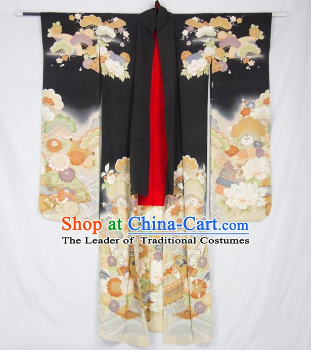 Asian Japanese Traditional Costumes Japan Furisode Kimono Yukata Embroidered Flowers Black Dress Clothing for Women