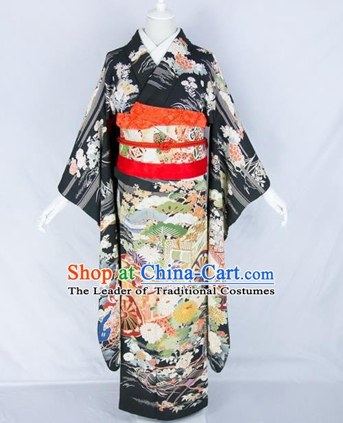 Asian Japanese Traditional Costumes Japan Embroidered Furisode Kimono Yukata Black Dress Clothing for Women