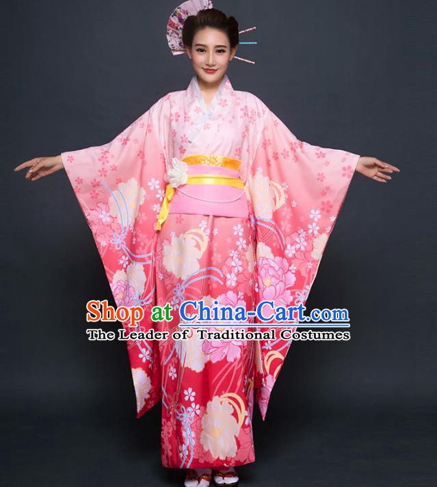 Asian Japanese Traditional Costumes Japan Printing Pink Furisode Kimono Yukata Dress Clothing for Women