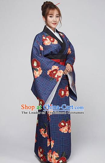 Asian Japanese Traditional Costumes Japan Printing Navy Furisode Kimono Yukata Dress Clothing for Women