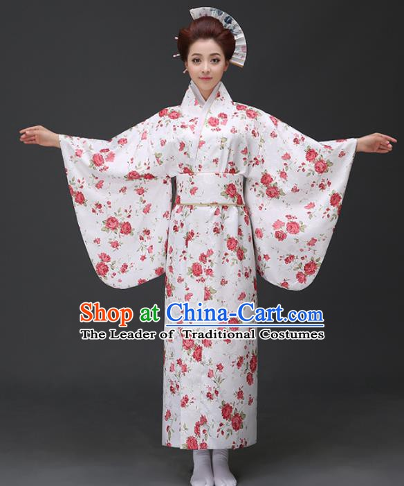 Asian Japanese Traditional Costumes Japan Printing Rose White Furisode Kimono Yukata Dress Clothing for Women