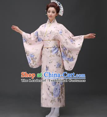 Asian Japanese Traditional Costumes Japan Printing Blue Peony Furisode Kimono Yukata Dress Clothing for Women