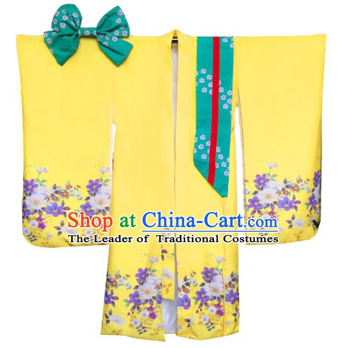 Asian Japanese Traditional Costumes Japan Printing Yellow Furisode Kimono Yukata Dress Clothing for Women