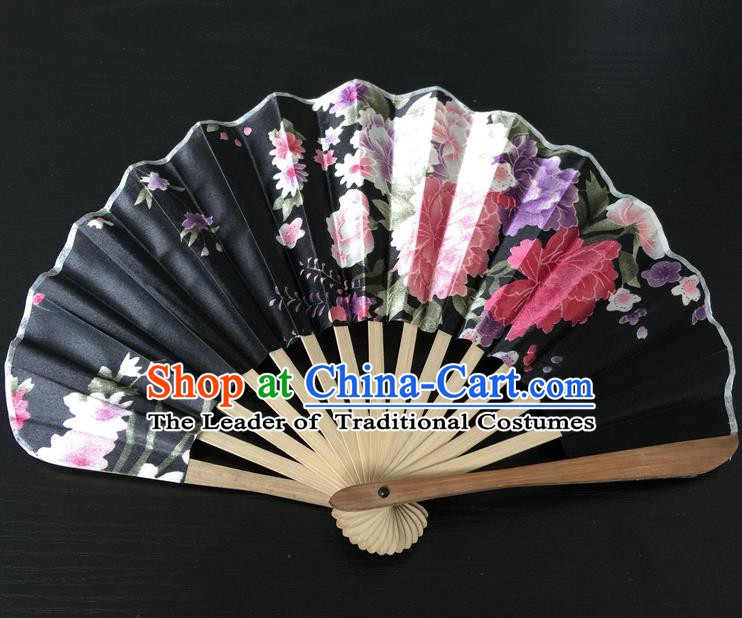Asian Traditional Folding Fans Kimono Printing Black Satin Fans Dance Fan for Women