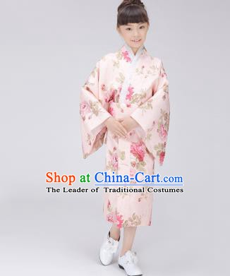 Asian Japanese Traditional Costumes Japan Satin Furisode Kimono Yukata Printing Pink Dress Clothing for Kids
