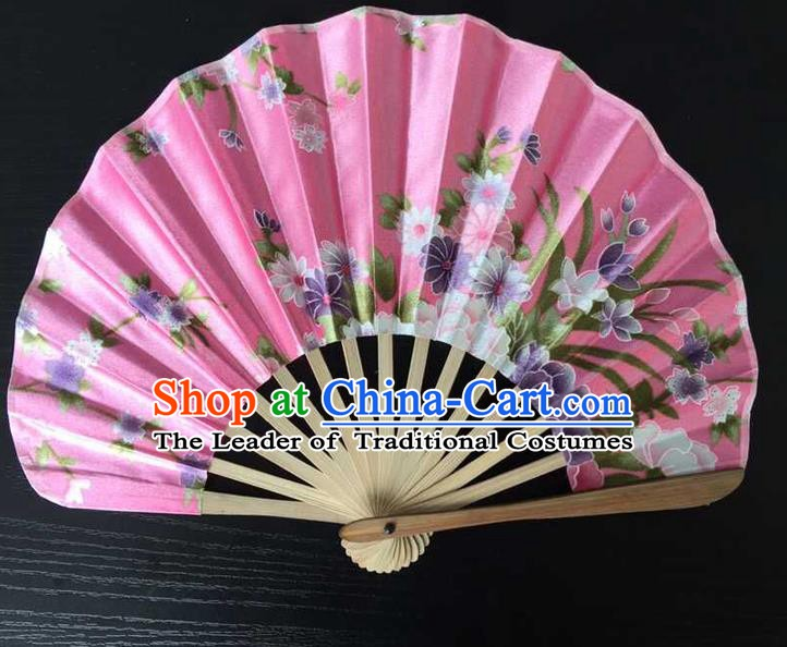 Asian Traditional Folding Fans Kimono Printing Pink Satin Fans Dance Fan for Women