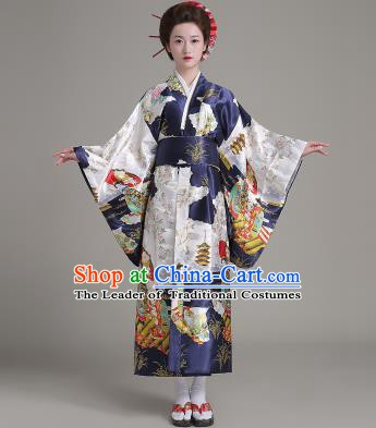 Asian Japanese Traditional Costumes Japan Satin Furisode Kimono Yukata Printing Navy Dress Clothing for Women
