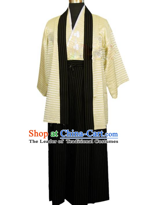 Asian Japanese Traditional Costumes Japan Kimono Yellow Yukata Clothing for Men