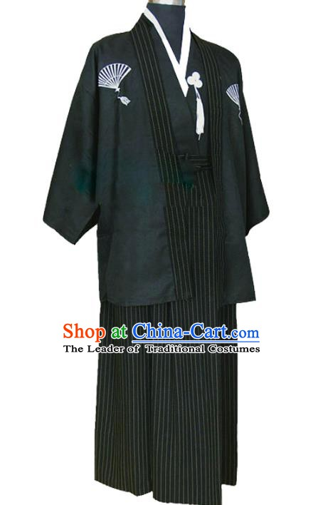 Asian Japanese Traditional Costumes Japan Kimono Black Yukata Clothing for Men