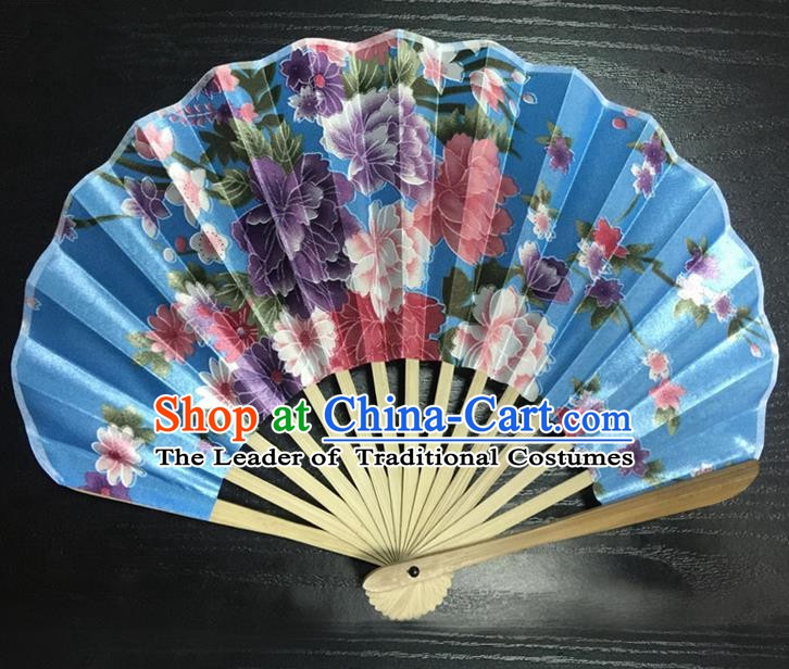 Asian Traditional Folding Fans Kimono Printing Flowers Blue Satin Fans Dance Fan for Women