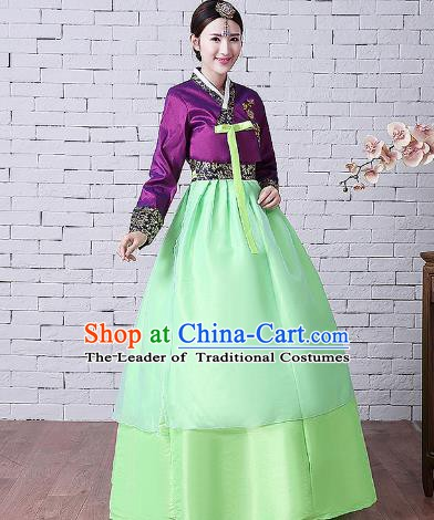 Asian Korean Dance Costumes Traditional Korean Hanbok Clothing Embroidered Purple Blouse and Green Dress for Women