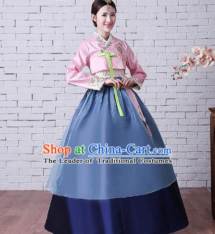 Asian Korean Dance Costumes Traditional Korean Hanbok Clothing Embroidered Pink Blouse and Navy Dress for Women