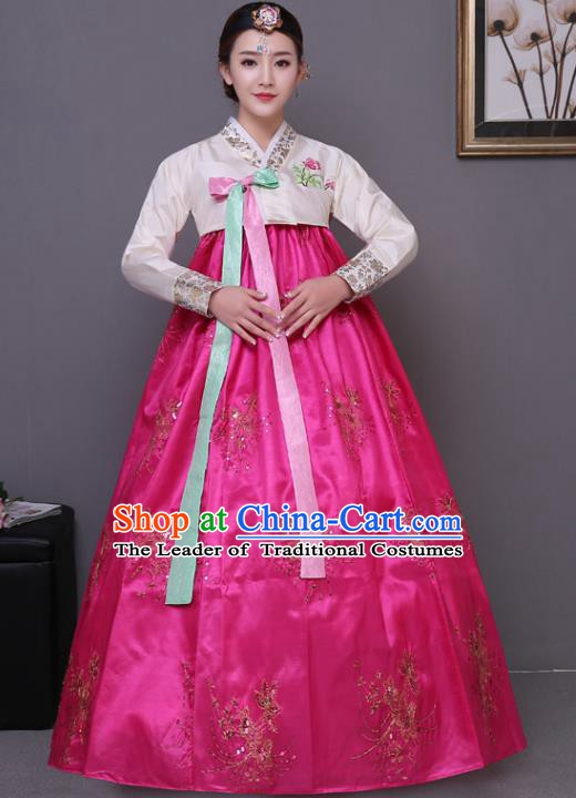 Asian Korean Dance Costumes Traditional Korean Hanbok Clothing White Blouse and Rosy Paillette Dress for Women