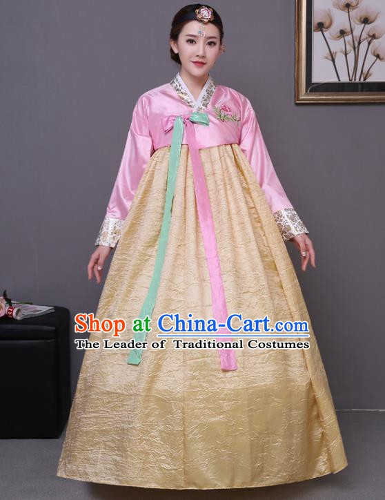 Asian Korean Dance Costumes Traditional Korean Hanbok Clothing Wedding Pink Blouse and Yellow Dress for Women