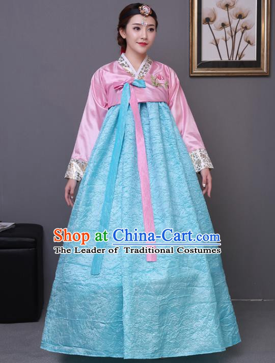 Asian Korean Dance Costumes Traditional Korean Hanbok Clothing Wedding Pink Blouse and Blue Dress for Women