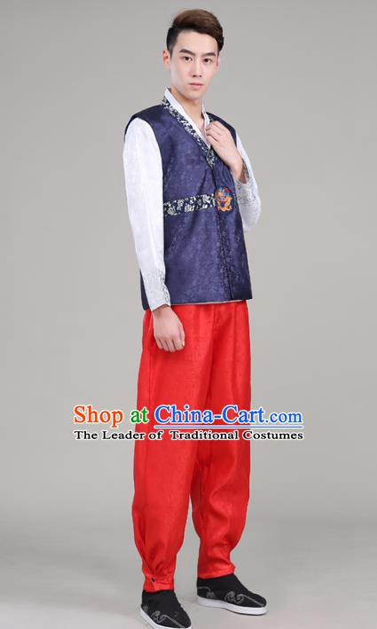Asian Korean Court Dance Navy Costumes Traditional Korean Hanbok Wedding Bridegroom Clothing for Men
