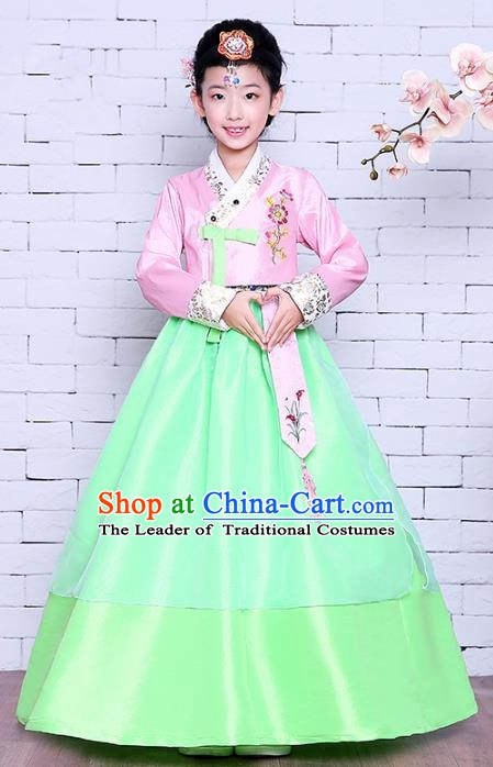 Asian Korean Dance Costumes Traditional Korean Children Hanbok Clothing Pink Blouse and Green Dress for Kids