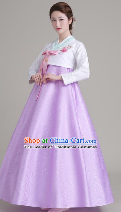 Asian Korean Court Costumes Traditional Korean Hanbok Clothing White Blouse and Lilac Dress for Women