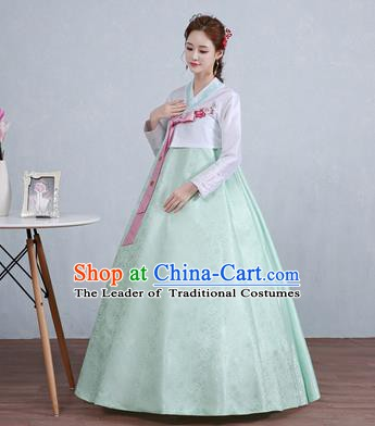 Asian Korean Court Costumes Traditional Korean Hanbok Clothing White Blouse and Green Dress for Women