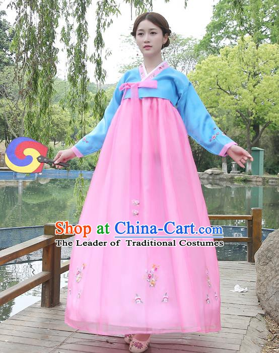 Asian Korean Court Costumes Traditional Korean Bride Hanbok Clothing Blue Blouse and Pink Dress for Women
