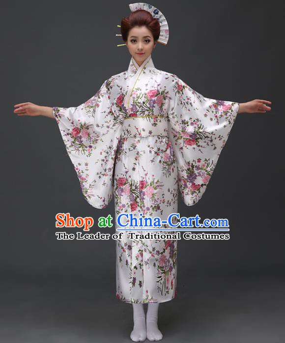 Asian Japanese Traditional Costumes Japan Printing Satin Furisode Kimono Yukata Dress Clothing for Women