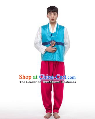 Asian Korean Palace Costumes Traditional Korean Bridegroom Blue Hanbok Clothing for Men