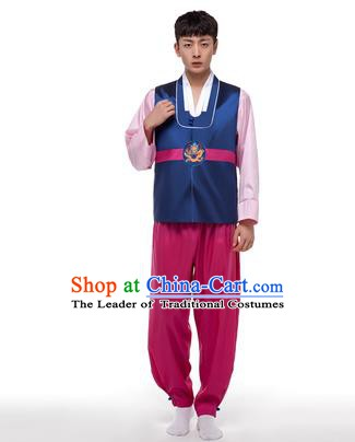 Asian Korean Palace Costumes Traditional Korean Bridegroom Navy Hanbok Clothing for Men