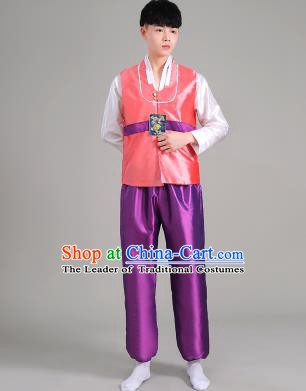 Asian Korean Palace Costumes Traditional Korean Bridegroom Pink Hanbok Clothing for Men