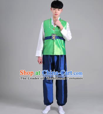 Asian Korean Palace Costumes Traditional Korean Bridegroom Green Hanbok Clothing for Men