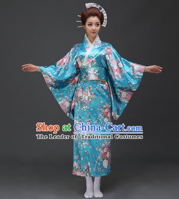 Asian Japanese Traditional Costumes Japan Printing Flowers Blue Satin Furisode Kimono Yukata Dress Clothing for Women