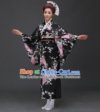 Asian Japanese Traditional Costumes Japan Printing Flowers Black Satin Furisode Kimono Yukata Dress Clothing for Women