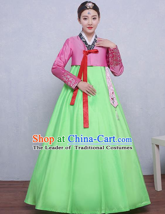 Asian Korean Dance Costumes Traditional Korean Dress Hanbok Clothing Pink Blouse and Green Skirt for Women