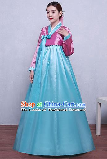 Asian Korean Dance Costumes Traditional Korean Hanbok Clothing Pink Blouse and Blue Dress for Women
