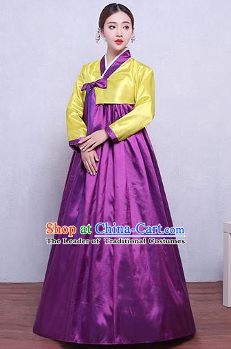 Asian Korean Dance Costumes Traditional Korean Hanbok Clothing Yellow Blouse and Purple Dress for Women