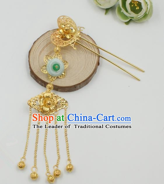 Chinese Handmade Classical Hair Accessories Ancient Hanfu Tassel Step Shake Hairpins for Women