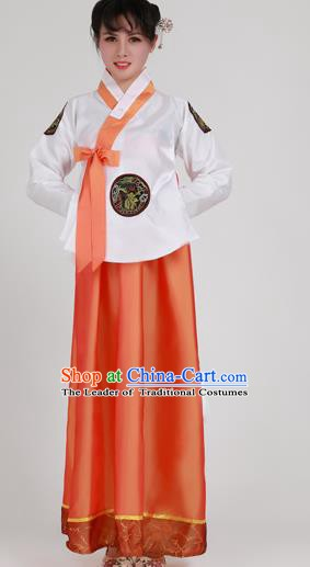 Asian Korean Palace Costumes Traditional Korean Bride Hanbok Clothing White Blouse and Orange Dress for Women