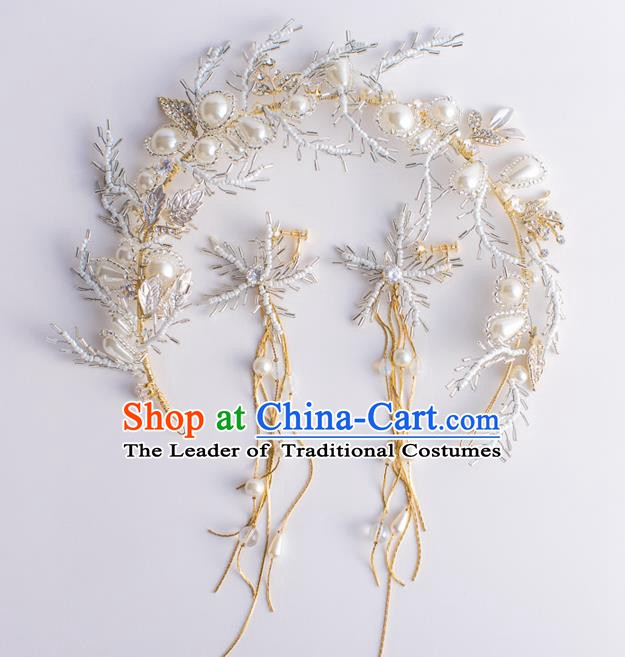 Handmade Classical Wedding Hair Accessories Bride Beads Hair Clasp and Earrings Headwear for Women