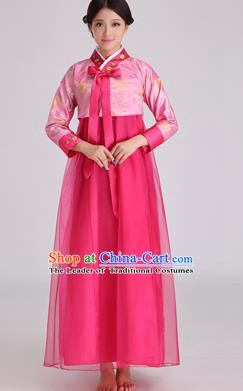 Asian Korean Palace Costumes Traditional Korean Bride Hanbok Clothing Pink Blouse and Rosy Veil Dress for Women