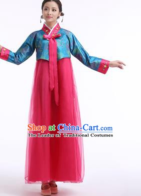 Asian Korean Palace Costumes Traditional Korean Bride Hanbok Clothing Blue Blouse and Rosy Veil Dress for Women