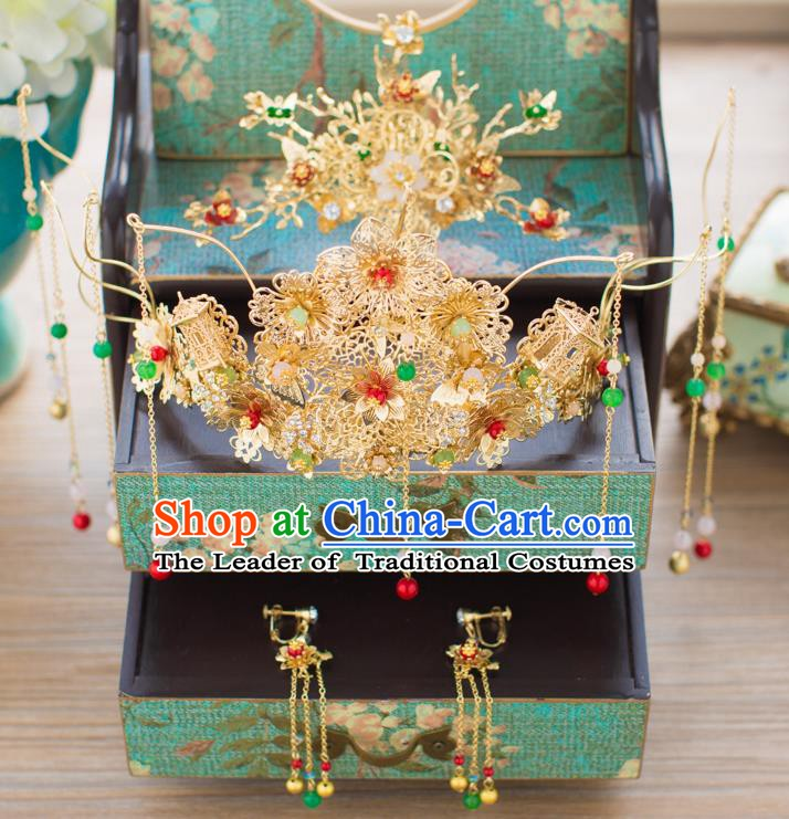 Chinese Handmade Classical Hair Accessories Ancient Hanfu Tassel Phoenix Coronet Hairpins for Women