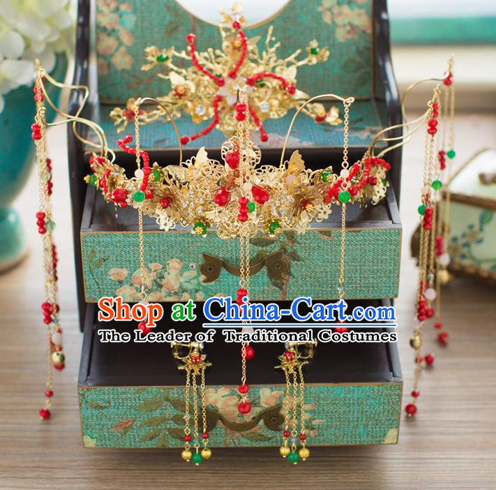 Chinese Handmade Classical Wedding Hair Accessories Ancient Xiuhe Suits Tassel Phoenix Coronet Hairpins for Women