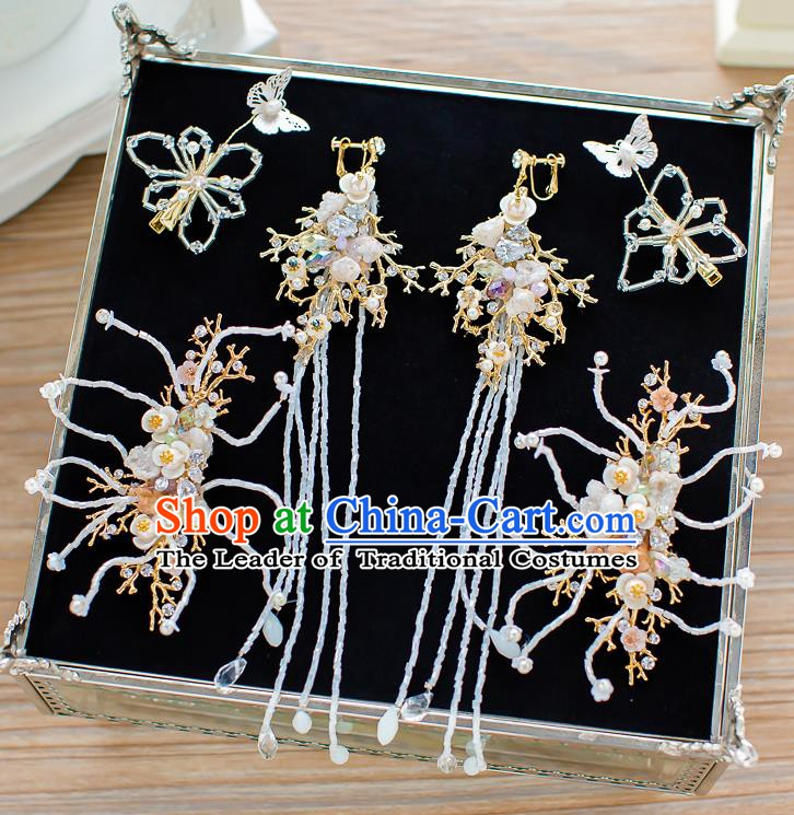 Handmade Classical Wedding Accessories Bride Hair Stick and Tassel Earrings Headwear for Women