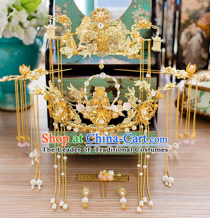 Chinese Handmade Classical Wedding Hair Accessories Ancient Xiuhe Suits Pearls Phoenix Coronet Hairpins for Women
