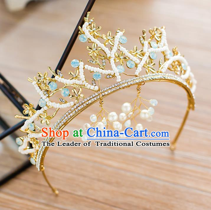 Handmade Classical Wedding Hair Accessories Bride Baroque Pearls Royal Crown Crystal Hair Clasp for Women