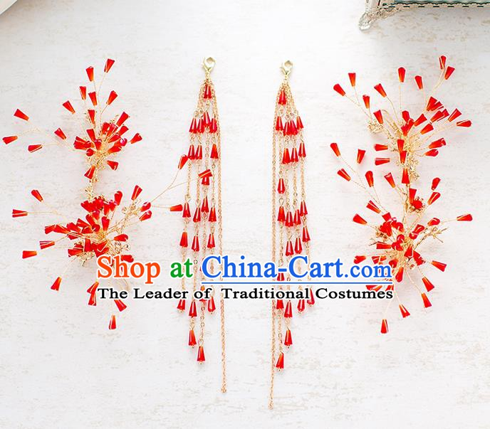 Handmade Classical Wedding Accessories Bride Red Hair Stick and Tassel Earrings Headwear for Women