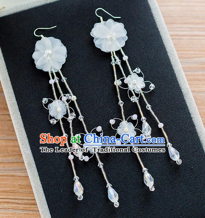 Handmade Classical Wedding Accessories Bride White Silk Flowers Tassel Earrings for Women