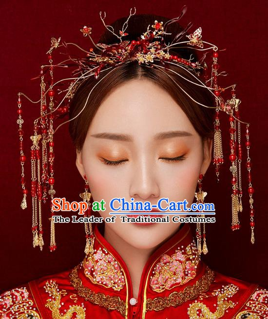 Chinese Handmade Classical Wedding Hair Accessories Ancient Tassel Hairpins Red Step Shake for Women