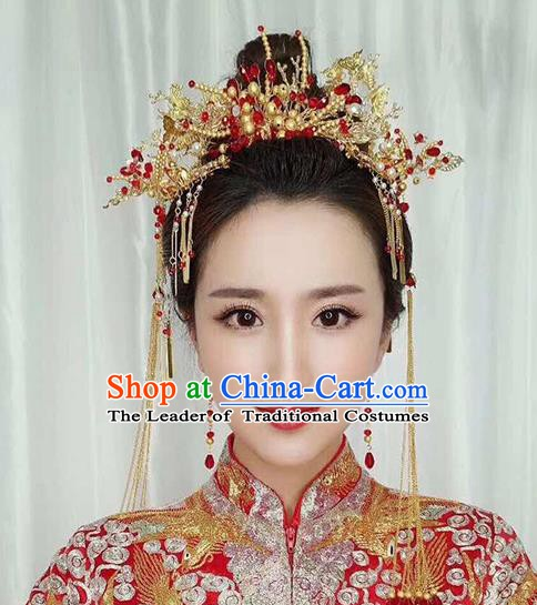 Chinese Handmade Classical Wedding Hair Accessories Ancient Tassel Hairpins Headdress for Women